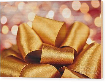 Gold Gift Bow With Festive Lights Wood Print by Elena Elisseeva