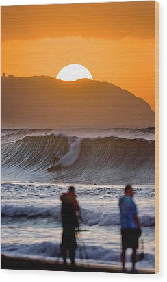 Gold Kaena Sunset Wood Print by Sean Davey