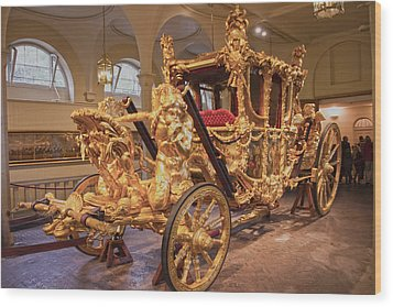 Gold State Coach Queen Elizabeth II Wood Print by David French
