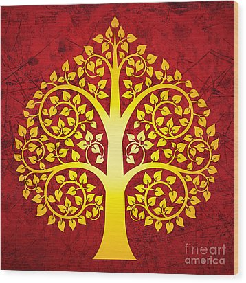 Golden Bodhi Tree No.1 Wood Print by Bobbi Freelance