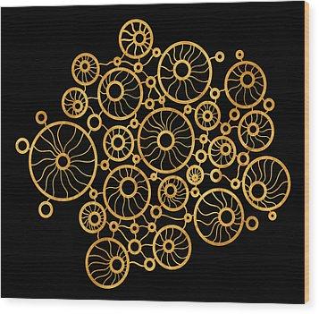 Golden Circles Black Wood Print by Frank Tschakert