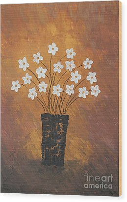 Golden Flowers Wood Print by Home Art