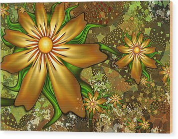 Golden Flowers Wood Print by Peggi Wolfe