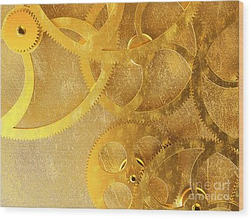 Golden Gears Background Wood Print by Tomislav Zivkovic