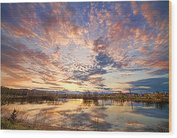 Golden Ponds Scenic Sunset Reflections 4 Wood Print by James BO  Insogna