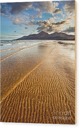 Golden Ripples Wood Print by Derek Smyth