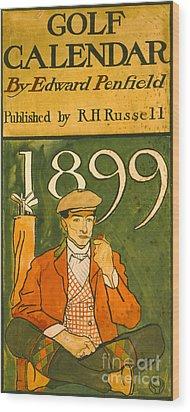 Golf Calendar Illustration 1899 Wood Print by Padre Art