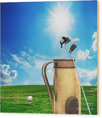 Golf Equipment And Ball On Golf Course Wood Print by Michal Bednarek