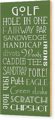 Golf Terms Wood Print by Jaime Friedman