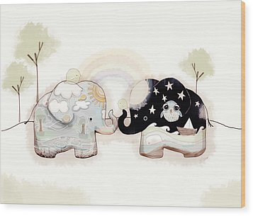 Good Karma Elephants Wood Print by Karin Taylor