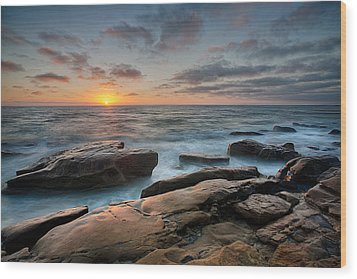 Goodnight Windnsea Wood Print by Peter Tellone
