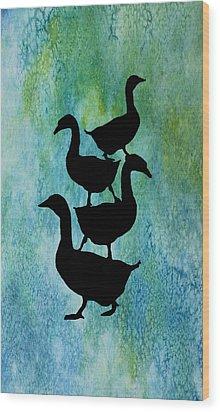 Goose Pile On Aqua Wood Print by Jenny Armitage