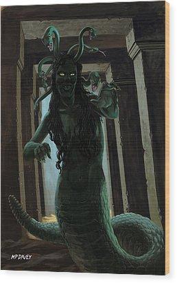 Gorgon Medusa Wood Print by Martin Davey