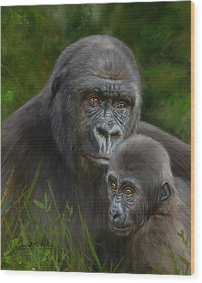 Gorilla And Baby Wood Print by David Stribbling