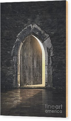 Gothic Light Wood Print by Carlos Caetano
