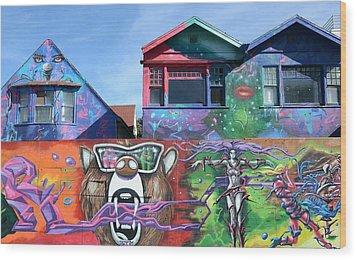 Graffiti House Wood Print by Fraida Gutovich