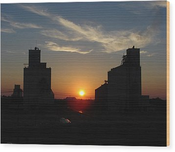 Grain Elevator Sunrise Wood Print by Cary Amos