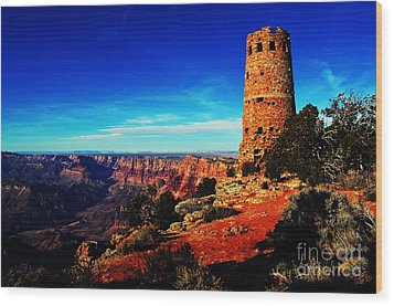 Grand Canyon National Park South Rim Mary Colter Designed Desert View Watchtower Vivid Wood Print by Shawn O'Brien
