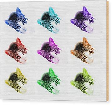 Grand Kitty Cuteness 3 Pop Art 9 Wood Print by Andee Design