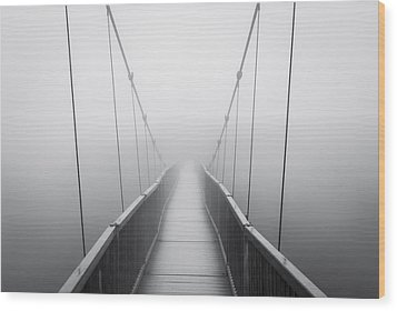 Grandfather Mountain Heavy Fog - Bridge To Nowhere Wood Print by Dave Allen