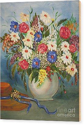 Grandma's Hat And Bouquet Wood Print by Janice Rae Pariza