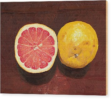 Grapefruits Oil Painting Wood Print by