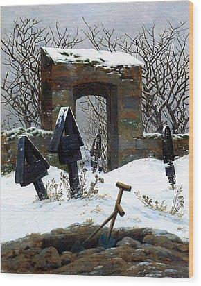 Graveyard Under Snow Wood Print by Philip Ralley