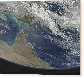 Great Barrier Reef, Satellite Image Wood Print by Science Photo Library
