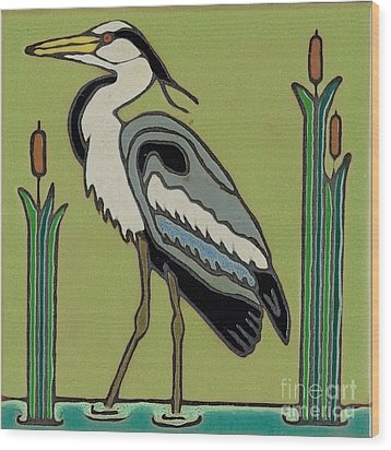 Great Blue Heron Wood Print by Elany  Prusa
