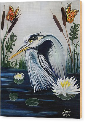Great Blue Heron Happiness Wood Print by Adele Moscaritolo