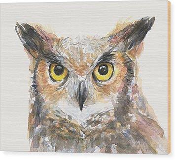 Great Horned Owl Watercolor Wood Print by Olga Shvartsur