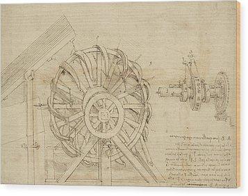 Great Sling Rotating On Horizontal Plane Great Wheel And Crossbows Devices From Atlantic Codex Wood Print by Leonardo Da Vinci