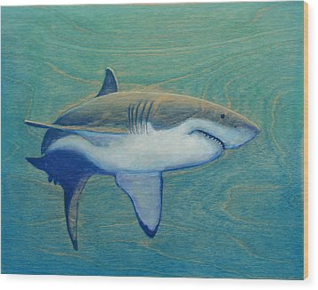 Great White Wood Print by Nathan Ledyard