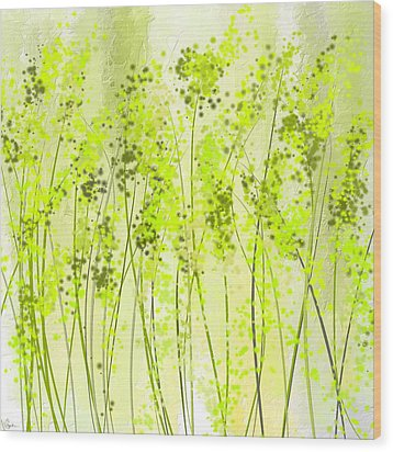 Green Abstract Art Wood Print by Lourry Legarde