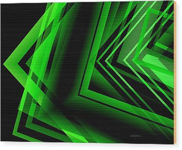 Green Abstract Geometric Wood Print by Mario Perez