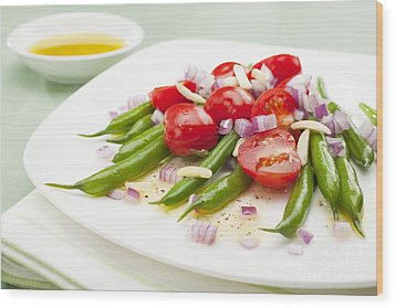 Green Bean And Tomato Salad Wood Print by Colin and Linda McKie
