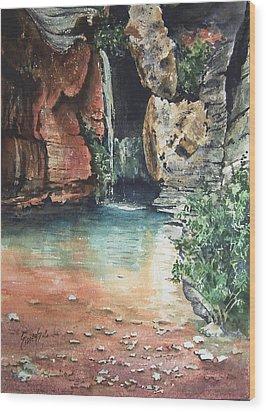 Green Falls Wood Print by Sam Sidders