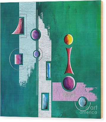 Green Geometrical Play Wood Print by Franziskus Pfleghart