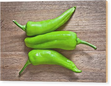 Green Jalapeno Peppers Wood Print by Tom Gowanlock