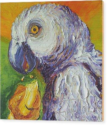 Grey Parrot And Juicy Mango Wood Print by Paris Wyatt Llanso