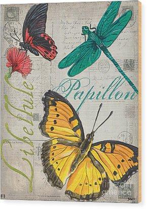 Grey Postcard Butterflies 3 Wood Print by Debbie DeWitt