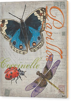 Grey Postcard Butterflies 4 Wood Print by Debbie DeWitt
