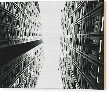 Grids Lines And Glass Structure - Google London Offices Wood Print by Lenny Carter