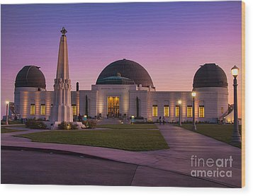 Griffith Observatory Wood Print by Eddie Yerkish