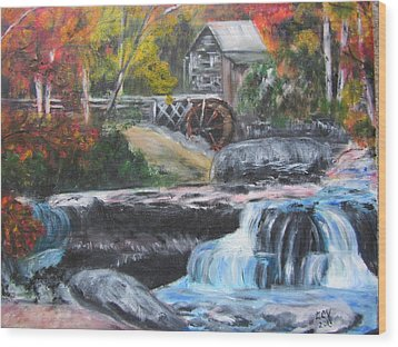Grist Mill In West Virginia Wood Print by Lucille  Valentino