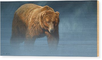 Grizzly Encounter Wood Print by Aaron Blaise
