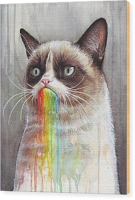 Grumpy Cat Tastes The Rainbow Wood Print by Olga Shvartsur