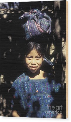 Guatemala Smiling Maya Girl Wood Print by John  Mitchell