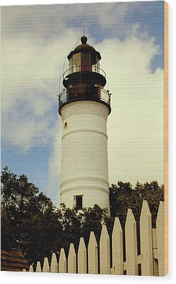 Guiding Light Of Key West Wood Print by Karen Wiles