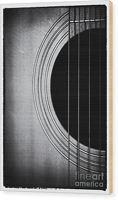 Guitar Film Noir Wood Print by Natalie Kinnear
